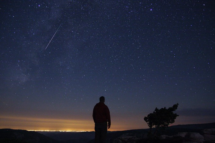 Mike Hankey with Perseid Meteor at Sentinel Dome, Yosemite National Park – August 12th, 2012