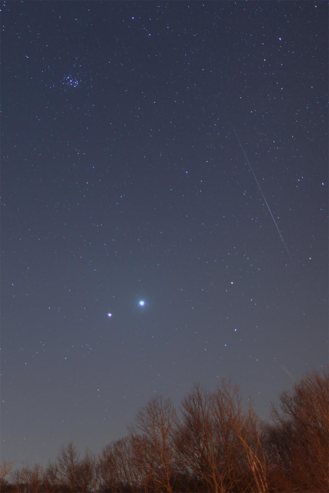 Meteor with Jupiter and Venus - March 14th, 2012 by Mike Hankey