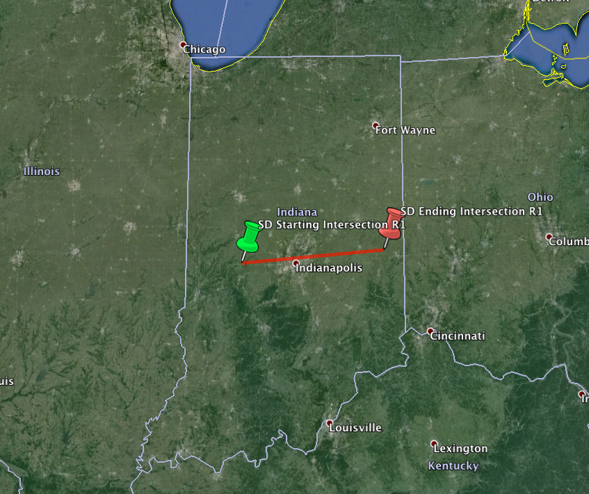 Estimated Trajectory For Mid Western Fireball - September 26th, 2013