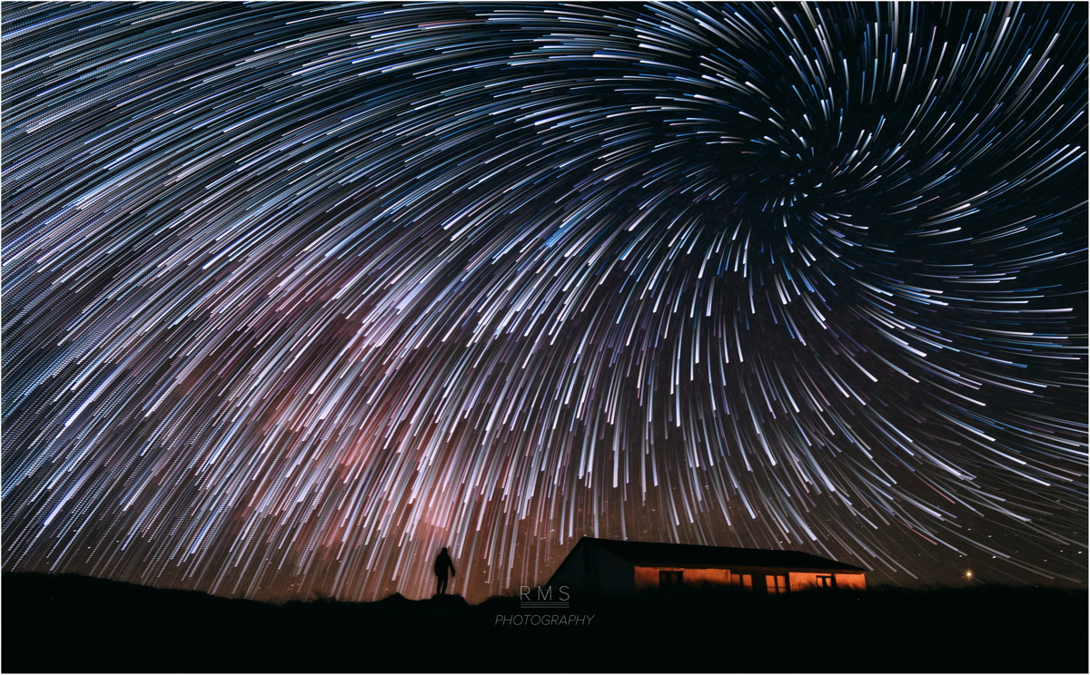 © Ruslan Merzlyakov - Vortex of star trails created using Photoshop - Stenbjerg, Thy National Park, Denmark. March 2015.