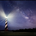 Cape Hatteras Lighthouse, the Milky Way and a Lyrid Meteor, 2013 by Jeff Berkes