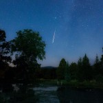 A meteor from the Perseid meteor shower is seen zipping through the sky in Hungary in August 2012.